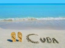 Sandals op het strand in Varadero, Cuba Stock Afbeeldingen