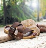 Sandals op zandig strand Royalty-vrije Stock Foto