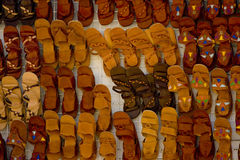 Sandals for sale. A sandal display in a bazaar in Tunis Royalty Free Stock Photography