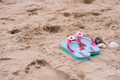 Sandals sand Stock Photo