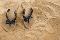 Sandals in the Sand Stock Photos