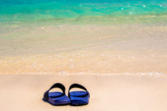 Sandals by the Sea. A beach scene from Meedhupparu in the Maldives Stock Images