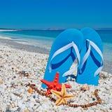 Sandals and sea stars Stock Photo