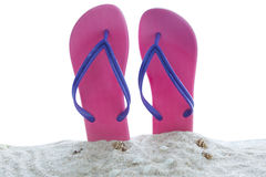 Sandals with seashells on beach sand stock photography