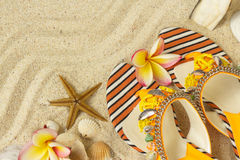 Sandals, seashells, and frangipani on sand. Sandals, seashells, starfish and frangipani on sand Stock Photography