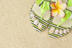 Sandals, seashells, and frangipani on sand Stock Images