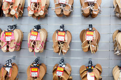 Sandals shoes in the shop Royalty Free Stock Photography