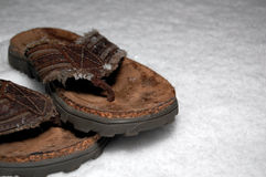 Sandals in the Snow Royalty Free Stock Photography