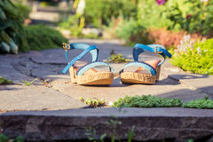 Sandals are in stone, women's shoes. A Stock Photography