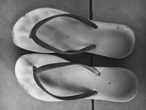 Sandals van het strand geplaatst die op een witte achtergrond wordt geïsoleerde Royalty-vrije Stock Fotografie