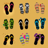 Sandals van het strand op zand Royalty-vrije Stock Afbeeldingen