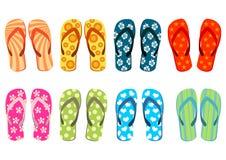 Sandals van het strand over wit Stock Fotografie