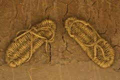 Sandals van het stro royalty-vrije stock foto