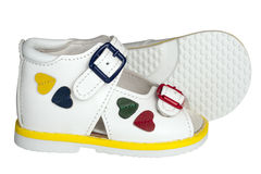 Sandals van witte kinderen Royalty-vrije Stock Afbeeldingen