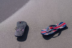 Sandals washed up Royalty Free Stock Photo