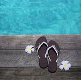 Sandals on a wooden floor. Women sandals on a wooden floor with flowers near the water Royalty Free Stock Photography