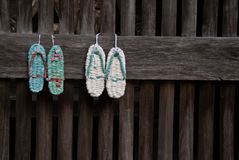 Sandals (zori) on a temple wall Royalty Free Stock Photos