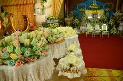 The Sandalwood flowers many colour for a funeral Thailand ceremony local. The Sandalwood flowers many colour on tray for a funeral Thailand ceremony local royalty free stock image