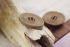 Sandalwood. And incense coil on the desk Royalty Free Stock Photos