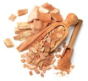 Sandalwood slice and powder in the scoop, top view. Sandalwood slice and powder in the scoop Stock Images