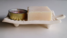 Sandalwood Soap and Candle Stock Photos