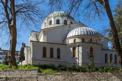 Orthodox church of St. George in town of Sandanski, Bulgaria. SANDANSKI, BULGARIA - APRIL 4, 2018: Orthodox church of St. George in town of Sandanski, Bulgaria stock photo