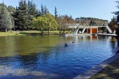 SANDANSKI, BULGARIA - APRIL 4, 2018: Spring view of lake in park in town of Sandanski, Royalty Free Stock Photos