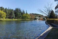SANDANSKI, BULGARIA - APRIL 4, 2018: Spring view of lake in park in town of Sandanski, Royalty Free Stock Images
