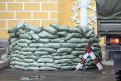 Sandbag bunker in the military base Stock Photography