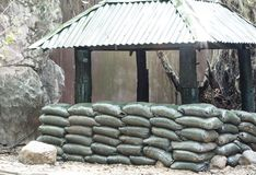 Sandbag bunker. Bunker of the royal Thai military stock photo