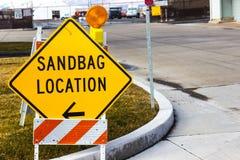 Sandbag Location Sign At Local Mainenance Yard. Sign Directing Traffic To Sandbag Location Royalty Free Stock Images