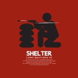 Sandbag Shelter With Gunman Stock Images