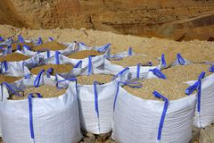 Sandbag white big bag sand sacks quarry Stock Photography