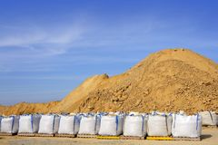 Sandbag white big bag sand sacks quarry Royalty Free Stock Images