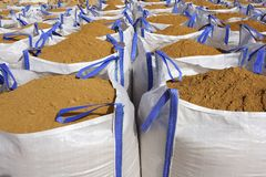 Sandbag white big bag sand sacks quarry Royalty Free Stock Photos