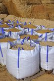 Sandbag white big bag sand sacks quarry Stock Photo