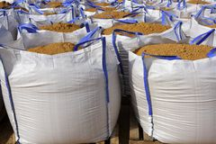 Sandbag white big bag sand sacks quarry Stock Image