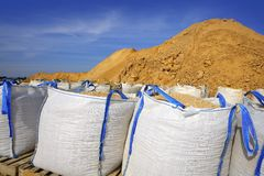 Sandbag white big bag sand sacks quarry Royalty Free Stock Photo