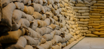 Sandbags. Sand bag abstract background in war museum Stock Image