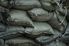 Sandbags. By the river Stock Photo