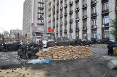 Sandbags on the barricades Royalty Free Stock Photos