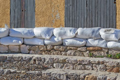 Sandbags at the beach Royalty Free Stock Photography