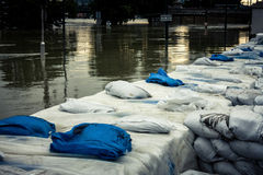 Sandbags at the flood Royalty Free Stock Photography
