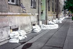 Sandbags at the flood Royalty Free Stock Photos