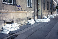 Sandbags at the flood Stock Images
