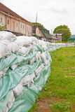 Sandbags for flood defense Royalty Free Stock Image