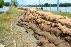 Sandbags after the flood. In Magdeburg stock photos