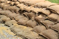 Sandbags after the flood Royalty Free Stock Image