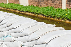 Sandbags for Flood Protection Royalty Free Stock Images