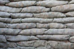Sandbags for flood protection. Temporary dam Stock Images